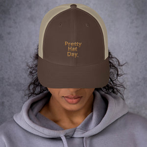 """ Pretty Hat Day "" (khaki stitch) Trucker Cap"