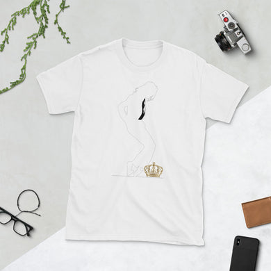 Michael Jackson White Silhouette Crown Down Sleeve Unisex Tee