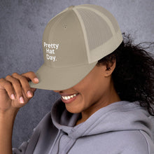 "Load image into Gallery viewer, "" Pretty Hat Day "" (white stitch) Trucker Cap"