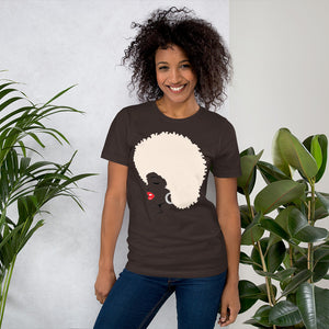 """ Melanin Melanie "" (red lippie / blonde afro) short-sleeve Unisex tee"