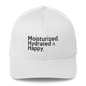 """Moisturized, Hydrated & Happy "" structured twill cap"