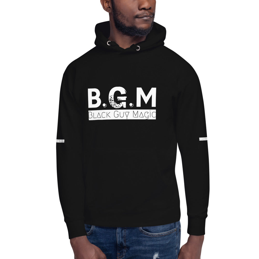 B.G.M (Black Guy Magic / white band / sleeved) Unisex Hoodie