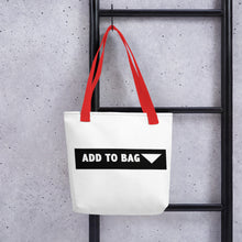 "Load image into Gallery viewer, "" Add to Bag "" shopping cart button (white) Tote bag"