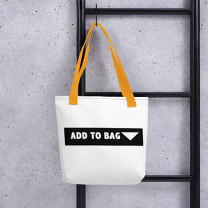 """ Add to Bag "" shopping cart button (white) Tote bag"