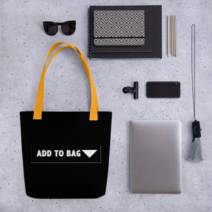 """ Add to Bag "" shopping cart  button (black) Tote bag"