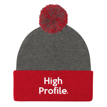"Load image into Gallery viewer, "" High Profile "" Embroidered Pom Pom Knit Cap"