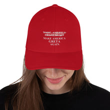 Load image into Gallery viewer, MAKE AMERICAN G̷R̷E̷A̷T̷  GRETA AGAIN Structured Twill Cap