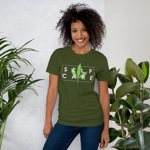 """ Self Care "" ( cannabis / white ) short-sleeve unisex tee"