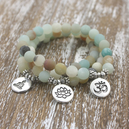 Amazonite Beads with Lotus, OM or Buddha Pendant.