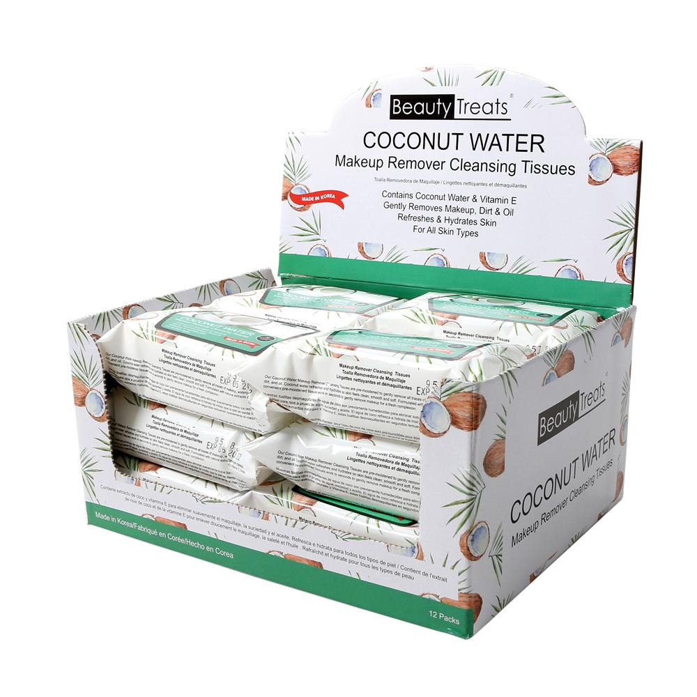 120-COCO - COCONUT WATER MAKEUP REMOVER CLEANSING TISSUES