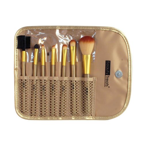 146 - 7 PIECE BRUSH SET IN POUCH - METALLIC GOLD