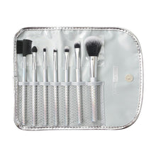 Load image into Gallery viewer, 158 - 7 PIECE BRUSH SET IN POUCH - HOLOGRAPHIC SILVER