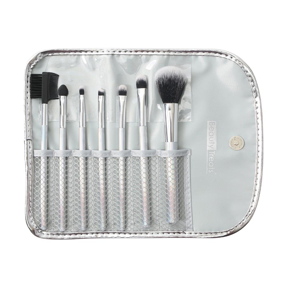 158 - 7 PIECE BRUSH SET IN POUCH - HOLOGRAPHIC SILVER