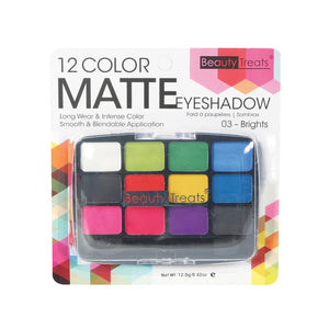 412-03 - 12 COLOR MATTE EYESHADOW - BRIGHTS