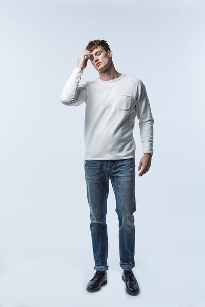 denim.lab regular Viper 600 M5 wash japanese selvage denim and raglan sweater made in Portugal - premium menswear denim jeans in japanese  selvage fabrics