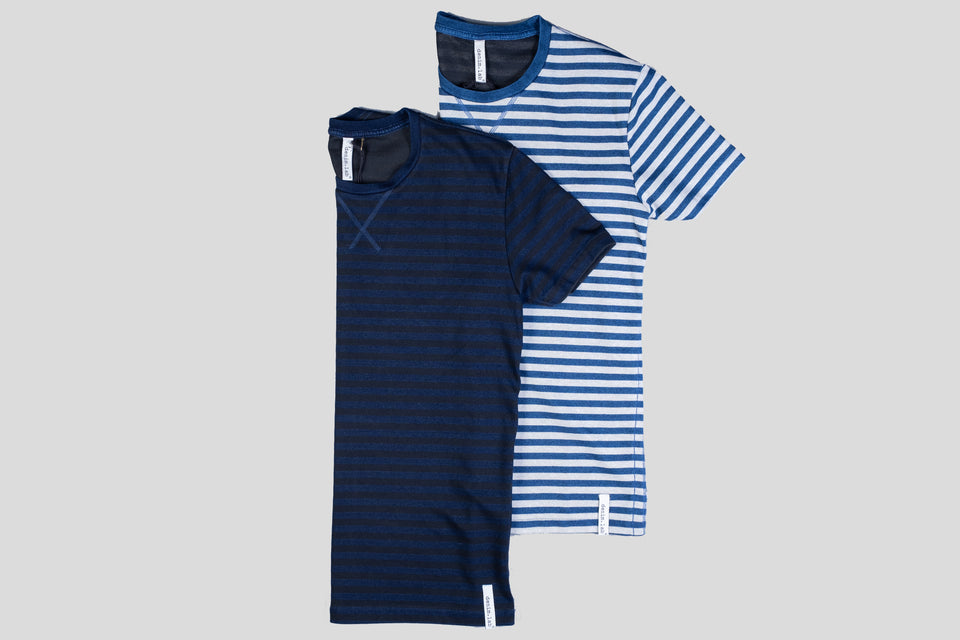 loose tee - indigo stripe black