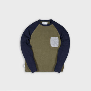 frame knit mix- green / dk navy / grey- 7g - 100% Italian wool