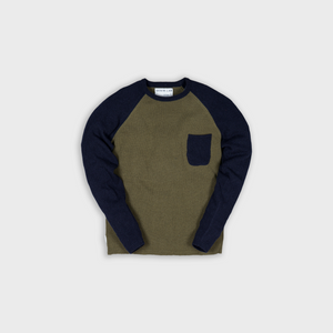 frame knit mix- green / dk navy - 7g - 100% Italian wool