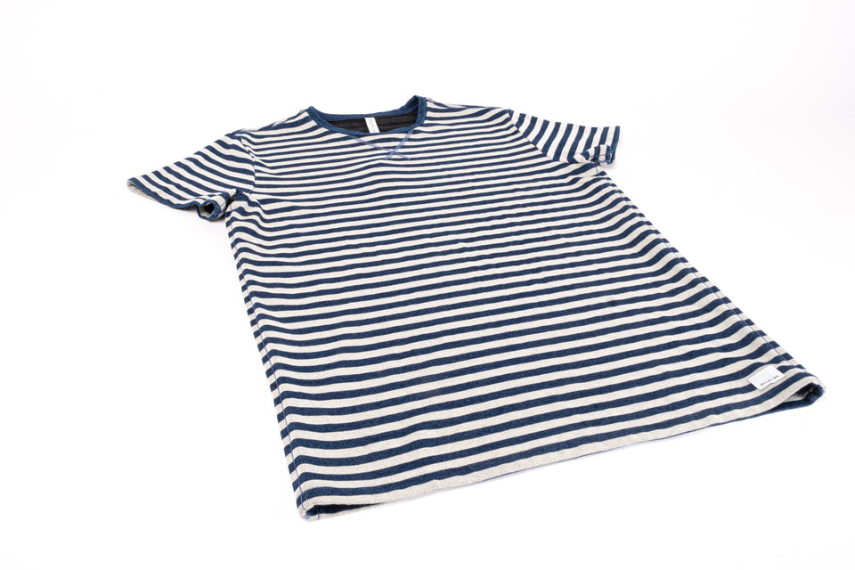 loose tee - indigo stripe white