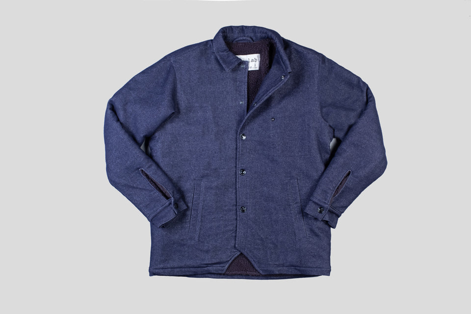packer coat - brushed indigo wool