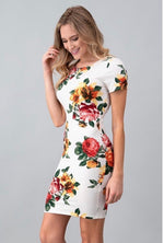 Kelly - Shirt Sleeve Bodycon Floral Dress - Galore Closet