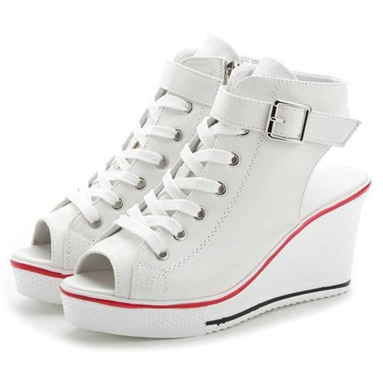 e48aa025c3a Women's Sneaker High-Heeled Fashion Canvas Shoes High Pump Lace Up Wedges  Side Zipper Shoes