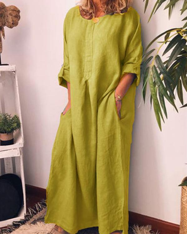 Women Casual Crew Neck Solid 3/4 Sleeve Plus Size Dresses