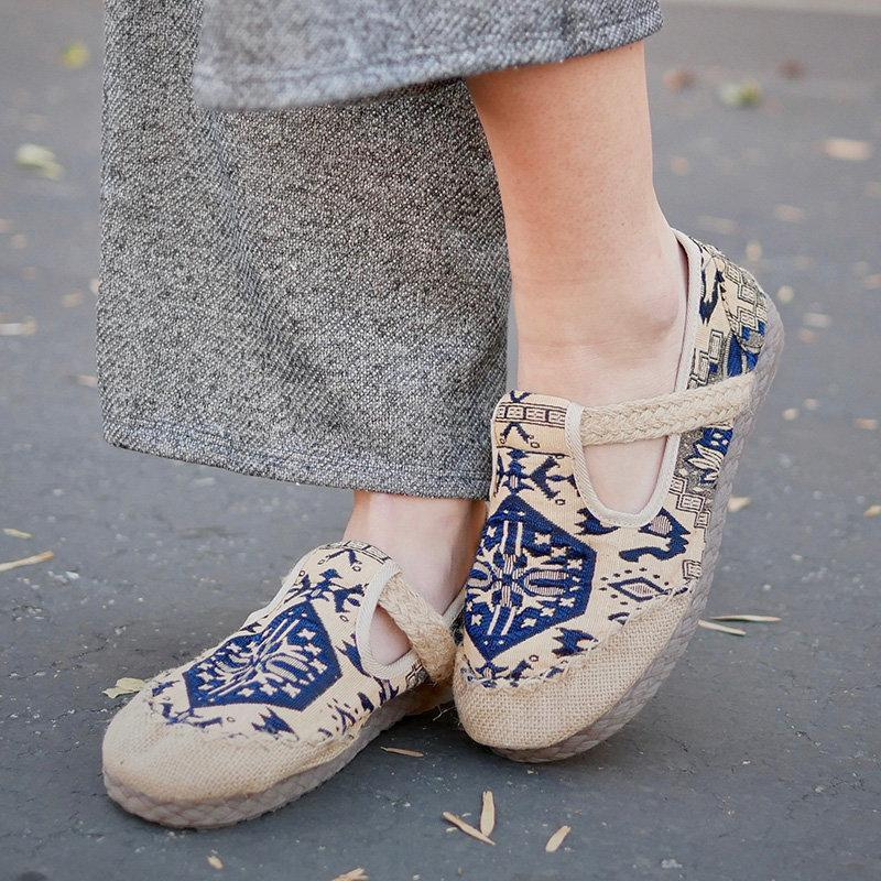 3a13d5b3dcc5 Embroidered Slip-On Women Tribal Fabric Loafers