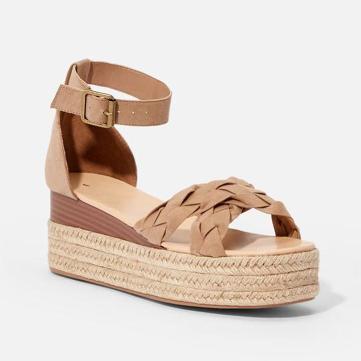 72a15001737 Women's Peep Toe Buckle Strap Espadrille Wedge Heel Sandals