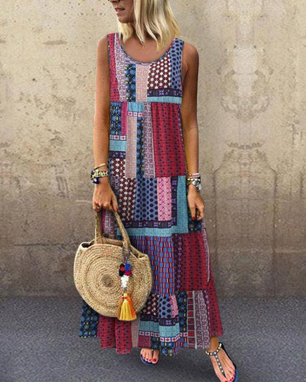 outlet for sale better classic styles Crew Neck Women Dresses Shift Daytime Printed Patchwork Maxi Dress