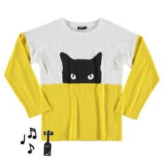 Kids Clothes Designer Yporque - Yellow Cat T-shirt with Sound (Yporque shirts with sound) at Bloom Moda Online Children's Designer Clothes Boutique