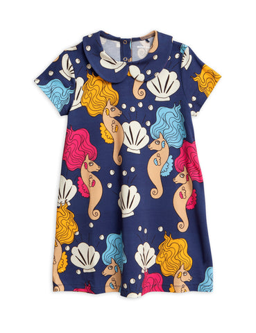 Designer Kids Fashion at Bloom Moda Online Children's Boutique - Mini Rodini Seahorse Collar Dress,  Dress