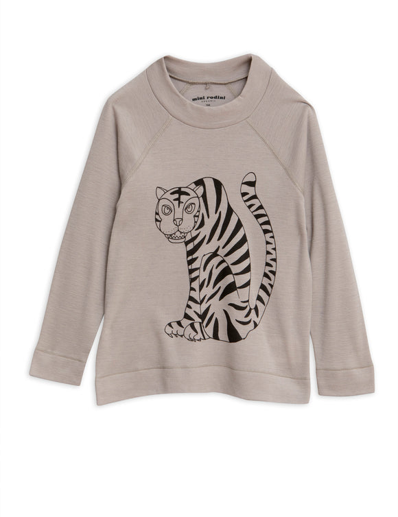 Designer Kids Fashion at Bloom Moda Online Children's Boutique - Mini Rodini Tiger Long Sleeve Wool T-Shirt,  Shirt