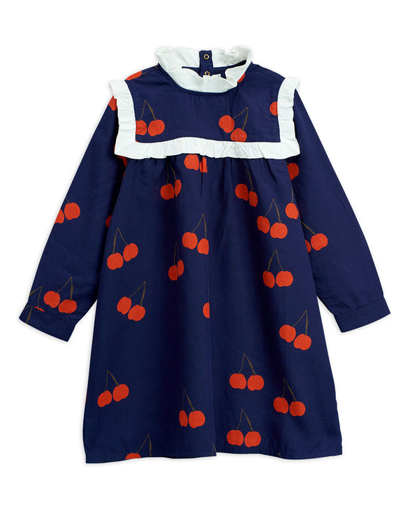 Designer Kids Fashion at Bloom Moda Online Children's Boutique - Mini Rodini Cherry Woven Frill Dress,  Dress