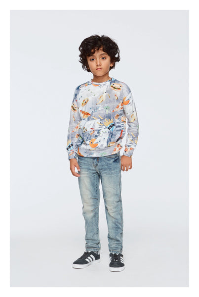 Designer Kids Fashion at Bloom Moda Online Children's Boutique - Molo Madsim Fun and Fast Sweatshirt,  Shirt