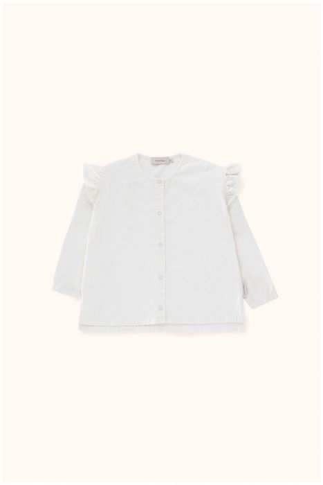 Designer Kids Fashion at Bloom Moda Online Children's Boutique - Tinycottons Solid Shoulder Frills Blouse,  Shirt