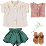 Designer Kids Fashion at Bloom Moda Online Children's Boutique - Búho Leila Linen Embroidery Shorts,  Shorts