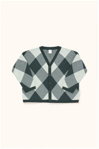 Designer Kids Fashion at Bloom Moda Online Children's Boutique - Tinycottons Big Check Cardigan Sweater,  Sweaters