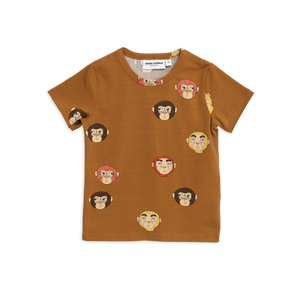 Mini Rodini Monkeys Printed Brown T-Shirt - Bloom Moda