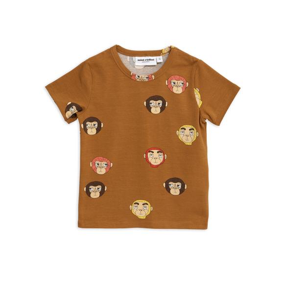Designer Kids Fashion at Bloom Moda Online Children's Boutique - Mini Rodini Monkeys Printed Brown T-Shirt,  Shirt