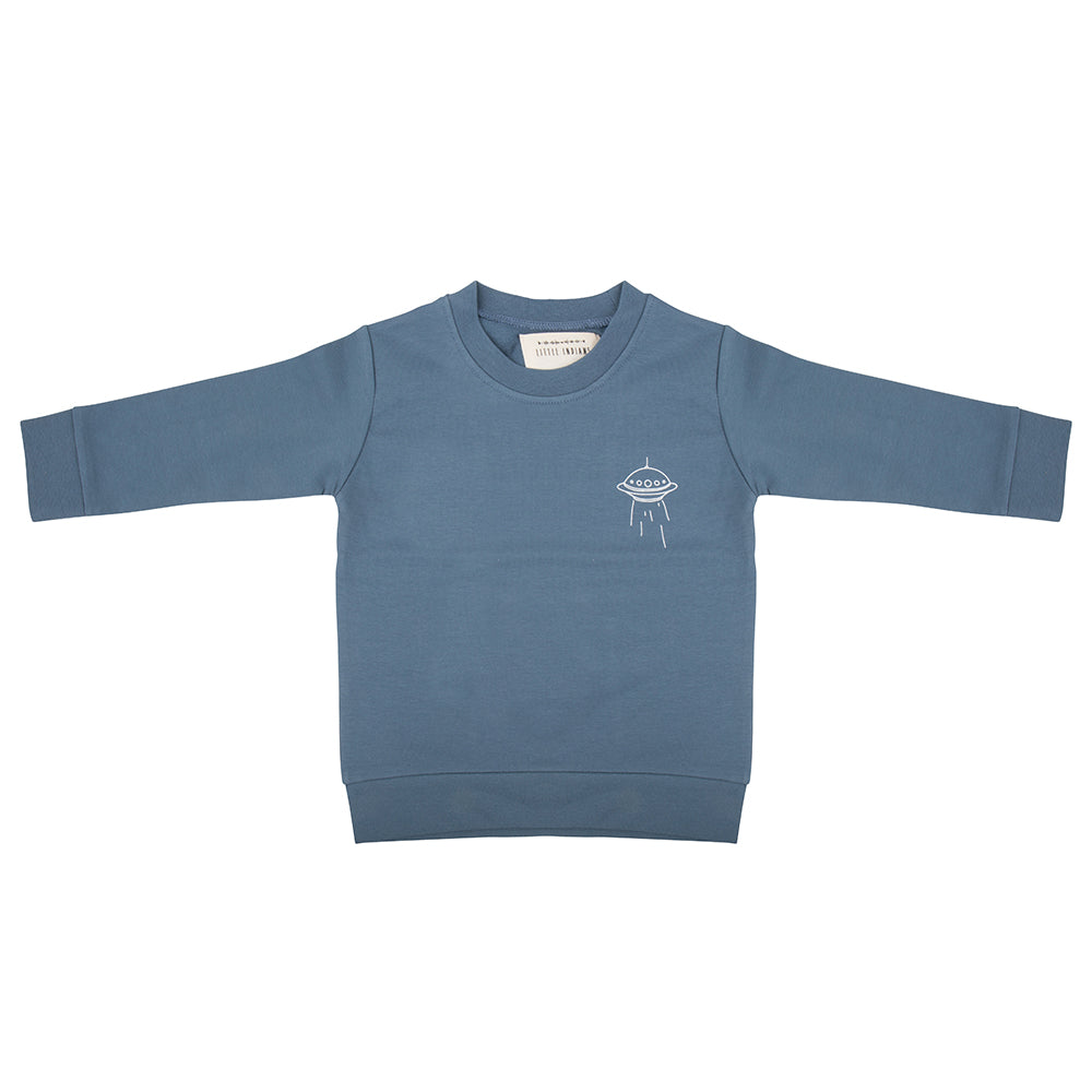 Designer Kids Fashion at Bloom Moda Online Children's Boutique - Little Indians Spaceship Sweater - Blue,  Sweater