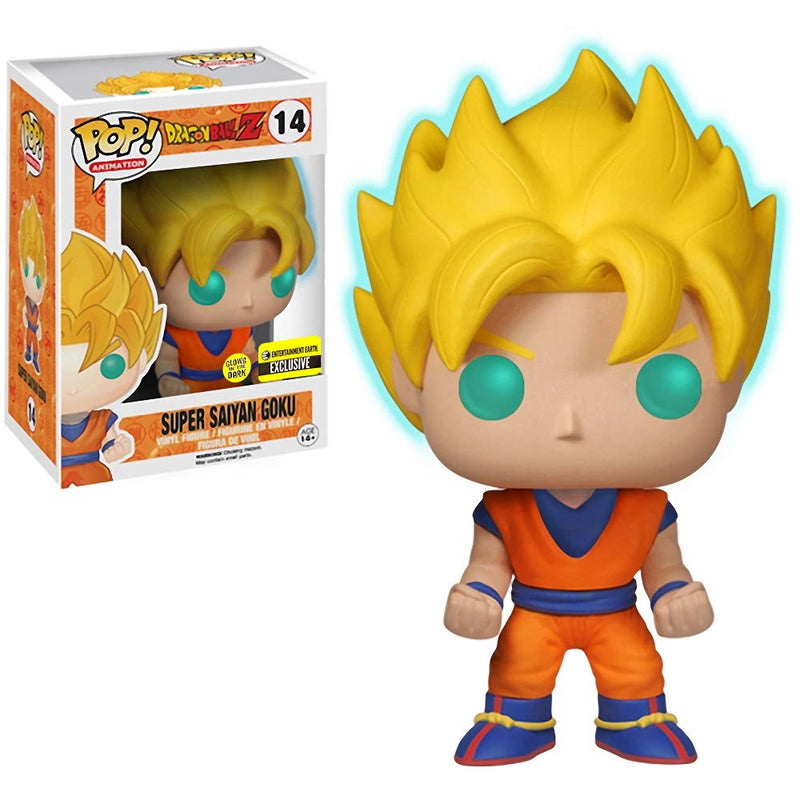 Funko Super Saiyan Goku [Glow-in-Dark] (EE Exclusive): Dragonball Z POP! Animation Vinyl Figure & 1  Compatible Protector