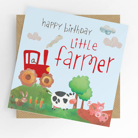 Under The Willow Tree Little Farmer Birthday Card  Funky kids