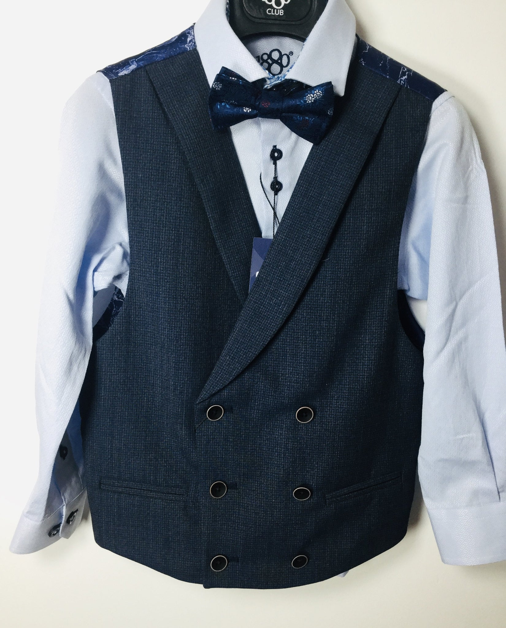 1880 CLUB BOYS NAVY/BLUE DOUBLE BREASTED WAISTCOAT MAGHERAFELT