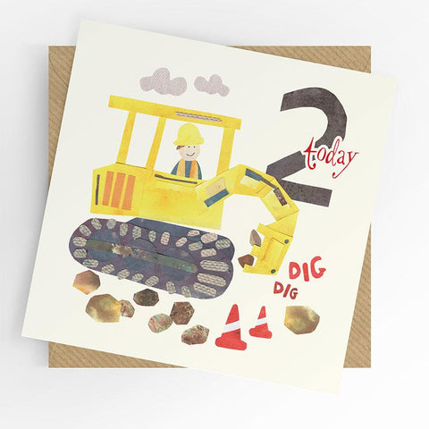 Under the willow tree Digger 2nd Birthday Card  Funky kids