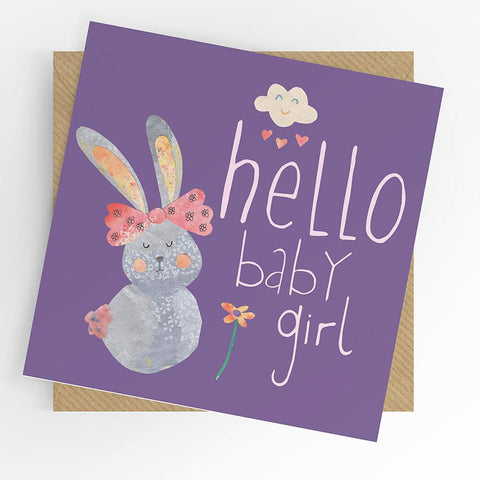 Under The Willow Tree Bunny Baby Girl Card
