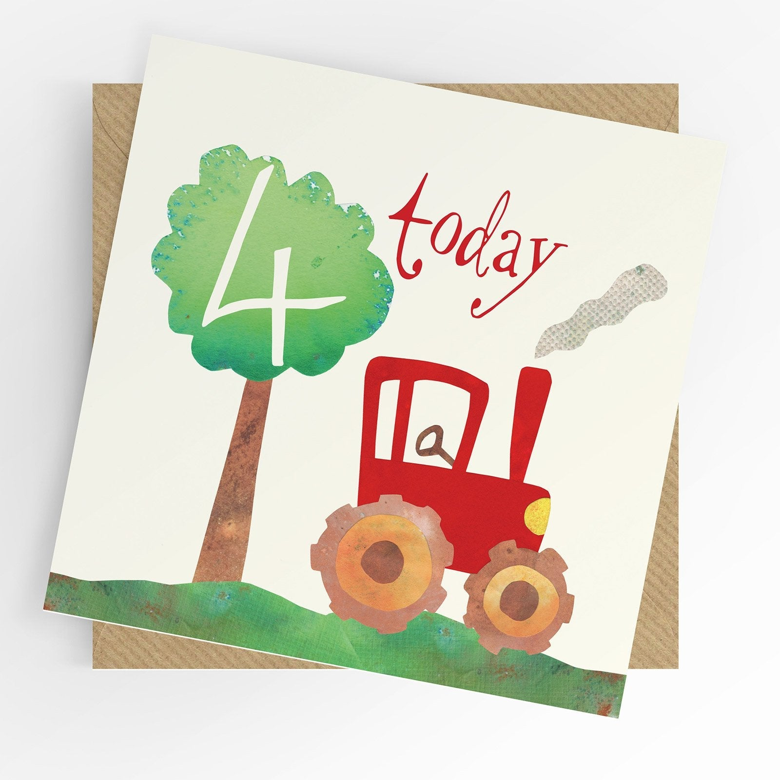 Under The Willow Tree Tractor 4th Birthday Card  Funky kids