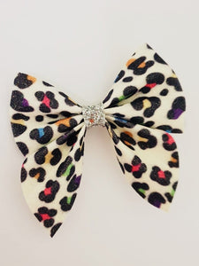 Once Upon A Bow White Leopard Print Bow  Funky kids - Magherafelt