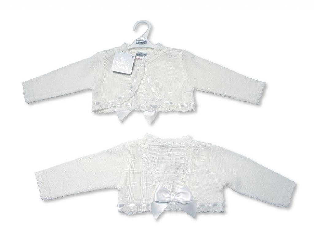 Baby Girl white Knitted Cardigan - Funky Kids Magherafelt