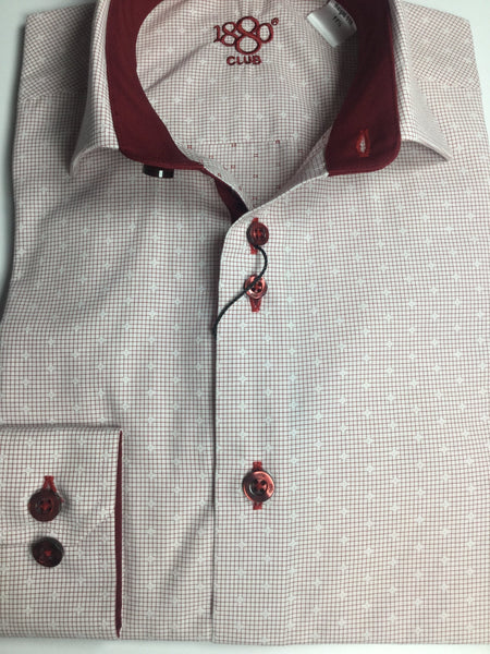 1880 CLUB BOYS BURGUNDY PATTERN SHIRT MAGHERAFELT